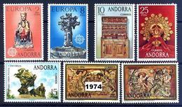 Andorra 089/95 ** 1974 Año Completo - Spanish Andorra