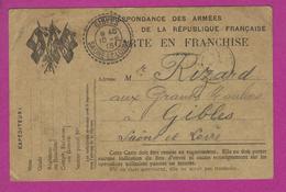 CARTE FRANCHISE MILITAIRE Secteur 44 Pour GIBLES SAONE T LOIRE - Guerre De 1914-18