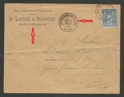 ST GILLES - GARD / Enveloppe Commerciale Vins & Spiritueux / 25c SAGE Févr. 1878 - 1877-1920: Semi-moderne Periode