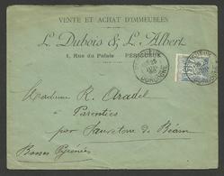 PERIGUEUX - DORDOGNE / Enveloppe Commerciale Vente & Achat D'immeubles / 15c SAGE 1898 - 1877-1920: Semi-moderne Periode