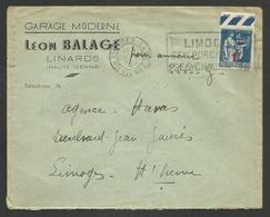 HAUTE VIENNE - LINARDS / Enveloppe Commerciale Garage L. BALAGE / 1941 - Poststempel (Briefe)