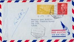 1957 MARRUECOS / TÁNGER , SOBRE CERTIFICADO POR CORREO AÉREO A NUEVA YORK , LLEGADA - Marruecos Español