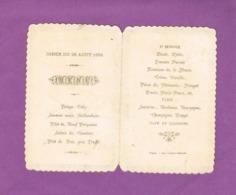 MENU DINER DU 22 AOUT 1892.  NOGENT. IMP. GONTHIER-DELOUCHE. - Menus