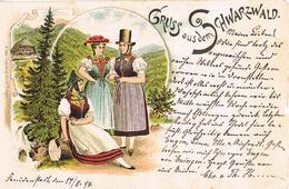 Litho Gruss Aus Dem Schwarzwald, Trachten 1894 - Costumes