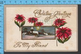 CPA Christmas -Fleurs Et Village .- Pub. B In Triangle - Postcard, Carte Postale - Autres