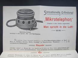 WERBUNG Telefon Telephone Mikrotelephon Ca.1910 / D*43894 - Telefontechnik