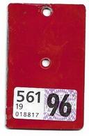 Velonummer Aargau AG 1996, Velovignette AG (Code 19 = AG) - Nummerplaten