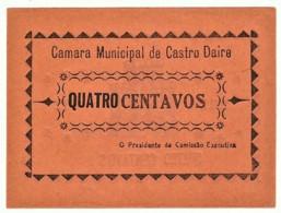 CASTRO DAIRE - Cédula De 4 Centavos - M.A. 648 A - 1922 - Portugal - Emergency Paper Money Notgeld - Portugal
