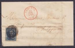"""LSC (sans Texte) Affr. N°10A P58 (superbe) Càd HEER /11 FEV 1859 Pour PHILIPPEVILLE - Boîte """"N""""  (au Dos: Càd Arrivée PH - 1858-1862 Médaillons (9/12)"""