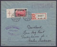 "L. Recommandée Affr. OC25 Càpt BRÜSSEL /30.4.1917 Pour BERLIN FRIEDENAU - Cachet Censure ""Militärische Überwachungsstell - Weltkrieg 1914-18"