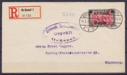 """L. Recommandée Affr. OC25 Càpt BRÜSSEL /14.3.1917 Pour NÜRNBERG - Cachet Censure """"Militärische Überwachungsstelle / Gepr - [OC1/25] Gen. Gouv."""