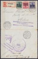 """L. Recommandée Affr. OC2/OC4 Càpt ANTWERPEN /-8.6.1916 Pour MALINES - Griffe """"Kaiserliches Gouvernement Antwerpen - Frei - Guerre 14-18"""