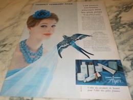 ANCIENNE PUBLICITE PEAU SENSIBLES HARRIET HUBBARD AYER 1960 - Parfums & Beauté