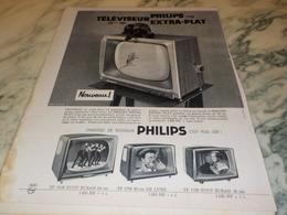 ANCIENNE PUBLICITE EXTRA PLAT  TELEVISEUR  PHILIPS 1960 - Television
