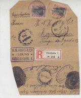 Briefvorderseite R-Brief Aus PFORZHEIM Nach Kopenhagen Zensur Pforzheim - Allemagne