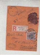 Briefvorderseite R-Brief Aus PFORZHEIM 16.11.15 Nach Kopenhagen Zensur Prüfungsstelle XIV.A.K.  Pforzheim - Allemagne