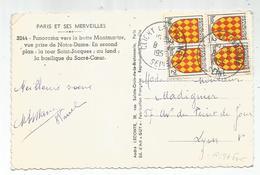 BLASON 2FR ANGOUMOIS BLOC DE 4CARTE CLICHY LA GARENNE 8.1.1955 AU TARIF - 1941-66 Coat Of Arms And Heraldry