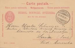 Schweiz: Ganzsache: 1902: Zürich Nach Lima-Süd Amerika - Suiza