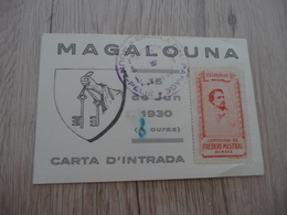 Felibre Provençal Mistral Magalouna 15/06/1930 Carta D'inrada Carte D'entrée Avec Vignette Mistral - Historical Documents