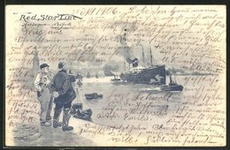 Künstler-AK Henri Cassiers: Red Star Line Antwerpen-New York - Steamers