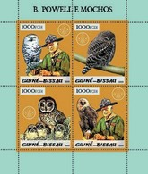 GUINEA BISSAU - SCOUTS - 2005 - Scouts, Owls, Gold Embossed - Perf 4v Sheet - M N H - Guinea-Bissau