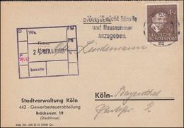 143 Von Paul 4 Pf EF Auf Drucksache Stadtverwaltung KÖLN 14.5.1952 - [7] République Fédérale