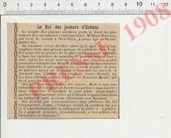 Presse 1908 Mort De William Pilsburg ( Harry Nelson Pillsbury ?? ) évocation De Steinitz Jeu D'échecs Chess USA 229Y - Non Classificati