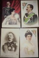 4 CPA, Famille Royale D'Italie, Le Roi Et La Reine ( S.M Il Re E S.M La Regina D'Italia),illustrations, Photo - Familles Royales