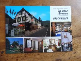 """CPA  Publicitaire Couleur   ORSCHWILLER  Hôtel-Restaurant-Caveau     """" Au Vieux Tonneau """" Au Pied Du Haut Koenigsbourg - France"""