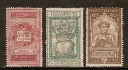 """(Fb).Regno.V.E.III.1921. """"Dante"""",serie Di 3 Val Nuovi Linguellati (105-19) - 1900-44 Vittorio Emanuele III"""