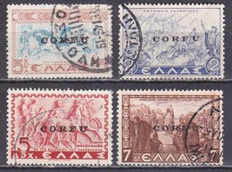 Ionian Islands 1941 Overprint CORFU In Black On 4 Used Values Of The Historical Issue Vl. 19-26-27-29 - Ionian Islands