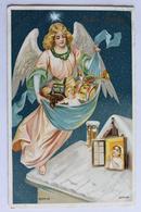 Ange DANS LE CIEL AU DESSUS D UN TOIT AVEC PLEIN DE JOUETS   GAUFRE - Angels