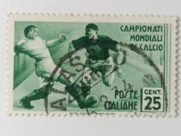 FRANCOBOLLO  VIAGGIATI - CAMPIONATO MONDIALE DI CALCIO- 1934 - CENT. 25 - VERDE - SASSONE 1-358 - Afgestempeld