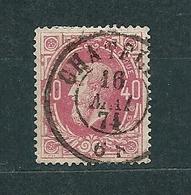 [34_0003] Zegel 34 Met Dubbel Cirkelstempel Chatelet Scan Voor- En Achterzijde - 1869-1883 Leopold II