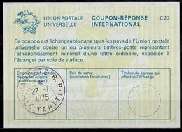 POLYNESIE FRANCAISE La22 International Reply Coupon ReponseIRC IAS Antwortschein O PAPEETE R.P. ILETAHITI22.1.75 - Tahiti