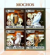 SAO TOME- SCOUTS - 2006 - Owls,  Scouting, Gold Embossed - Perf 4v Sheet - M N H - São Tomé Und Príncipe