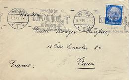 1933- Enveloppe Allemande Affr. 25 Pf Oblit. Flamme ILLUSTREE Avec Oiseau - Moineaux