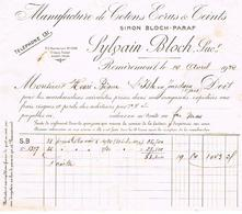 Facture Sylvain Bloch  Cotons Ecrus Remiremont 1932 - Textile & Vestimentaire