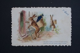 Ref5927 Carte 1er Avril - Visite De Lapin Avec La Hotte Plein De Poisson - Bords Gaufrés - April Fool's Day