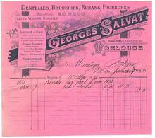 Facture   Dentelles Broderie G . Salvat 4 R St Rome Toulouse 1934 - Textile & Vestimentaire
