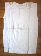 CHEMISE Sans Manche Débardeur EN COTON ECRU Années 40-50 4 Boutons En Nacre (2) - Vintage Clothes & Linen