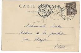 ST AMAND MONTROND Cher CAD Type A Sur 10c Sage + Boîte Rurale F (certainement MEILLANT) 1901   ..... G - Marcophilie (Lettres)