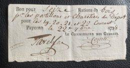 10096 - Bon Pour Seize Rations De Bois Pour Les Postillons Et Charetiers Payerne Le 22.09.1798 Commissaire Des Guerres - Documentos