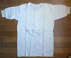 CHEMISE Manches Courtes EN COTON ECRU Années 40-50 4 Boutons En Nacre - Vintage Clothes & Linen