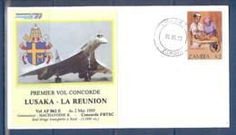 ENVELOPPE PREMIER VOL CONCORDE LUSAKA - LA REUNION DU 02/05/1989 AVEC LE PAPE + CERTIFICAT DE VOL - Concorde