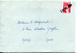 N°78630 -cachet Manuel De Lyon RP Sur Sabine De Gandon 1.20 Rouge - Matasellos Manuales