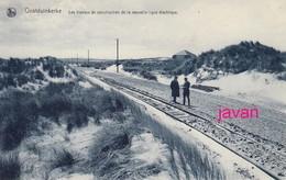 PHOTO :Oostduinkerke, Les Travaux De La Nouvelle Ligne, Foto Van Oude Postkaart 2 Scans - Luoghi