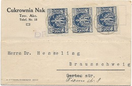 SH 0467. N° Yv. 267 (3) S:CP Datée De RUDKI 30 OKT. 1923 Vers Braunschweig - 1919-1939 République
