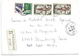 H459 - BAS RHIN - HAGUENAU - 1975 - ROND Avec CODE POSTAL 67 - Recommandé - - Marcophilie (Lettres)