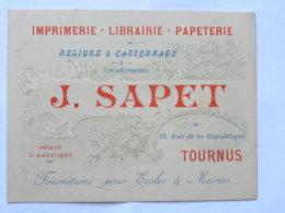 CPA (71) Saône Et Loire - TOURNUS - Carte Commerciale, J. SAPET - Imprimerie Librairie, 18 Rue De La République - France